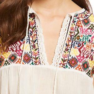 NWT Free People Lohri Embroidered Ivory Tassel Top
